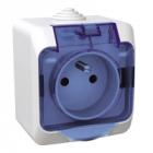 Gniazdo poj. z klap. niebieską - Białe - Schneider Cedar Plus WDE000542